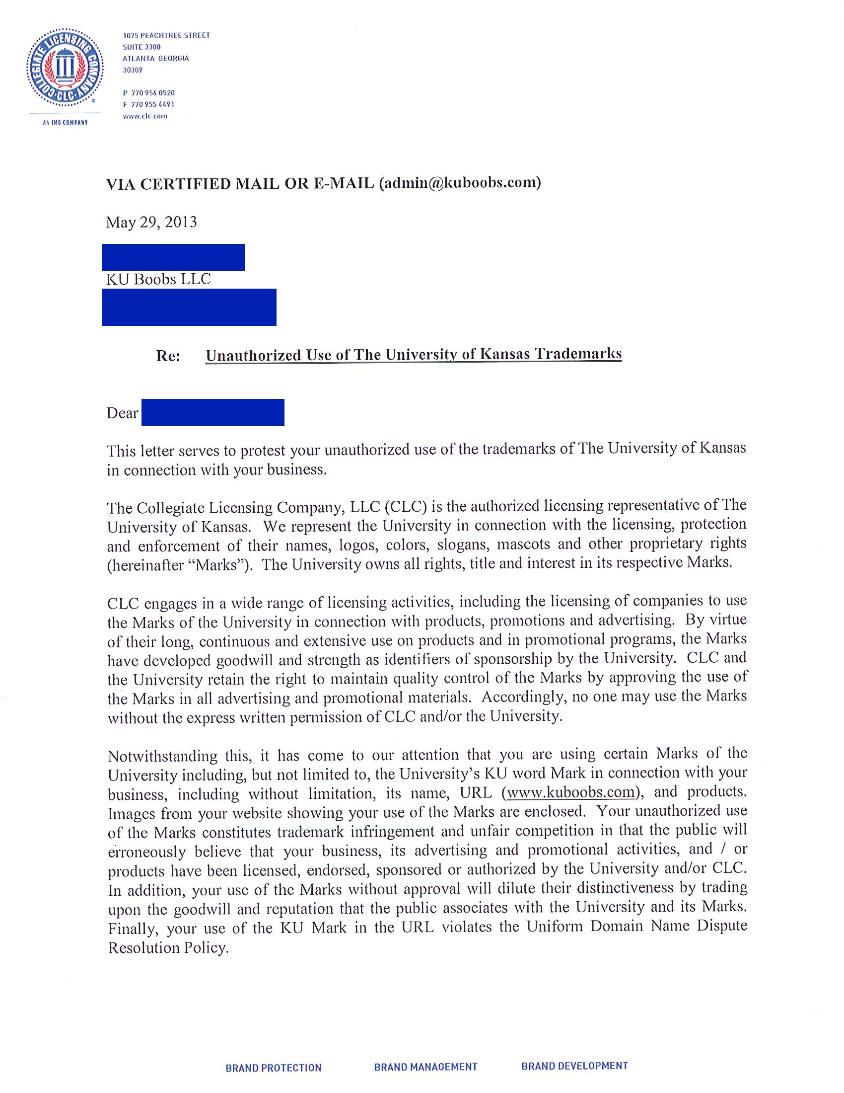 ku boobs cease and desist