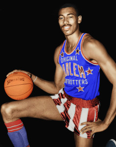 Wilt Chamberlain as a member of the Harlem Globetrotters. Fair use image via wikimedia.